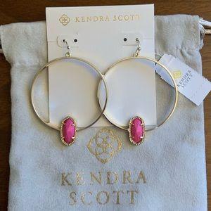 NWT Kendra Scott Gold Elora Hoops in Magenta